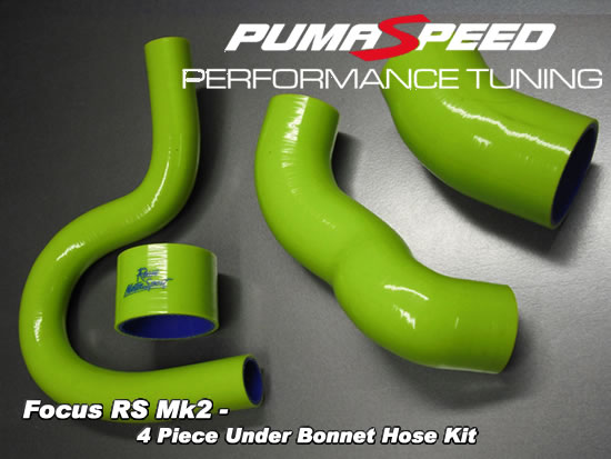 Focus RS mk2 2009 under bonnet silicon hose kit in green at pumaspeed