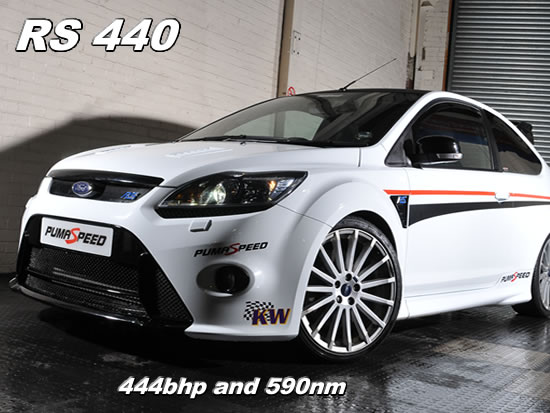 The new Ford focus rs mk2 2009 with 444 bhp , simple bolt on parts that give huge power